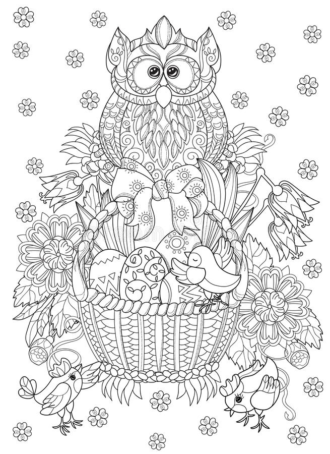 Hand drawn doodle outline easter eggs in basket. With chiken and owl decorated with ornaments.Vector zentangle illustration.Floral ornament.Sketch for adult vector illustration