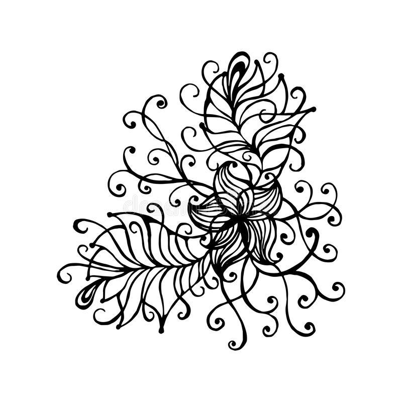Hand Drawn Doodle Outline Magic Line Art Element With Floral ...