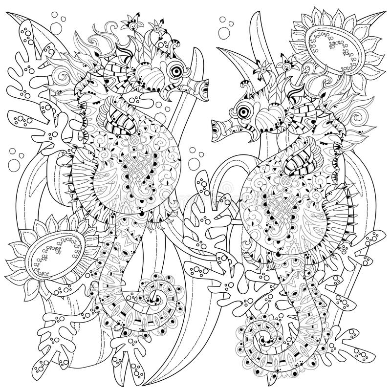 Hand drawn doodle outline seahorse royalty free illustration