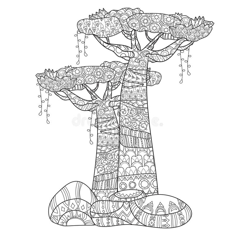 Hand drawn doodle outline tree decorated vector illustration