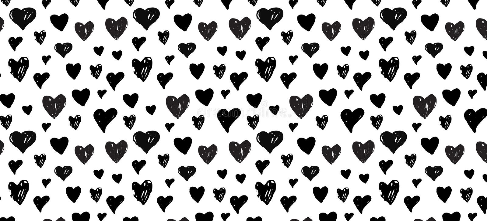 Hand-drawn doodle pattern with hearts . banner template. Vector illustration