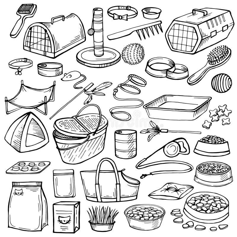 Hand drawn doodle Pets stuff.Pets accessories vector illustration
