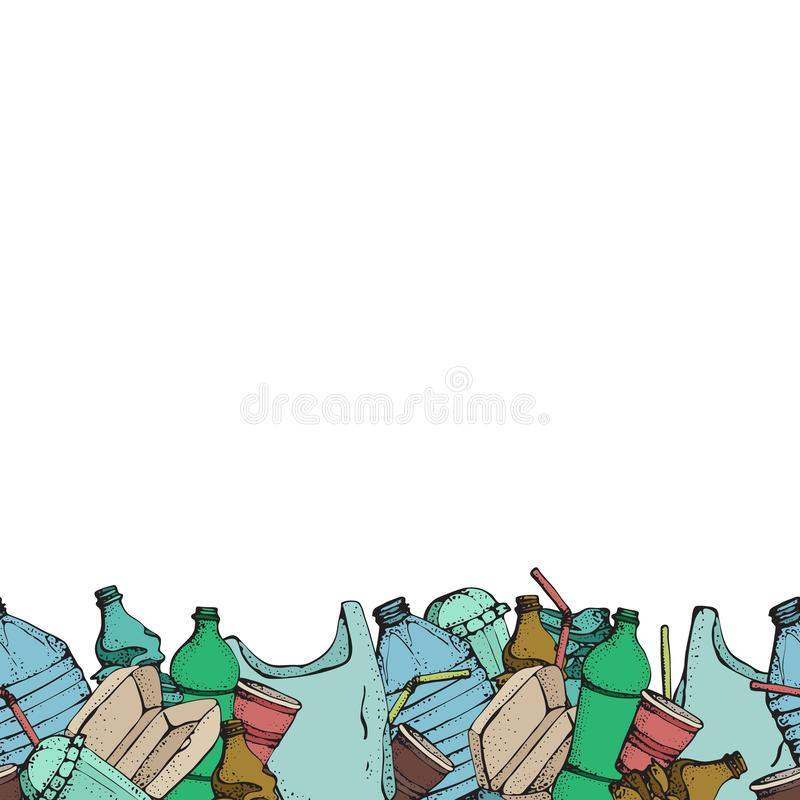 Hand drawn doodle plastic pollution seamless pattern. Vector illustration isolated on white. Bag, Bottle, Package. Contamination, disposable dish, straw stock illustration
