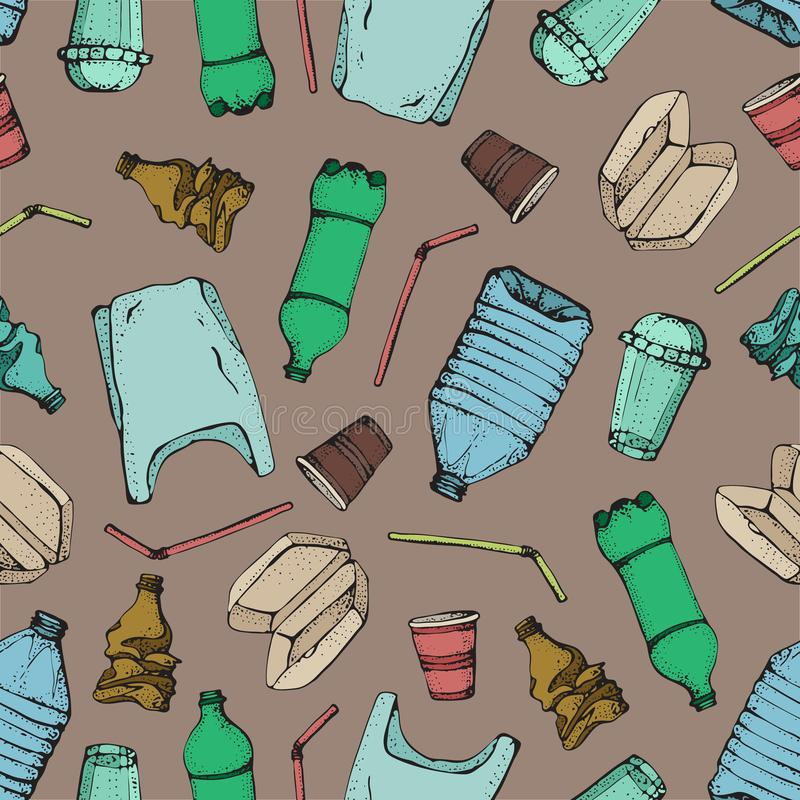 Hand drawn doodle plastic pollution seamless pattern. Vector illustration sketchy symbols collection. Bag, Bottle stock illustration