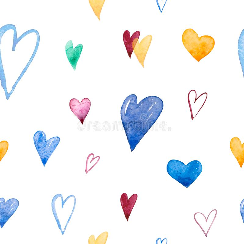 Hand-drawn doodle seamless pattern with hearts. Can be used for wedding invitation, card for Valentine`s Day or card vector illustration