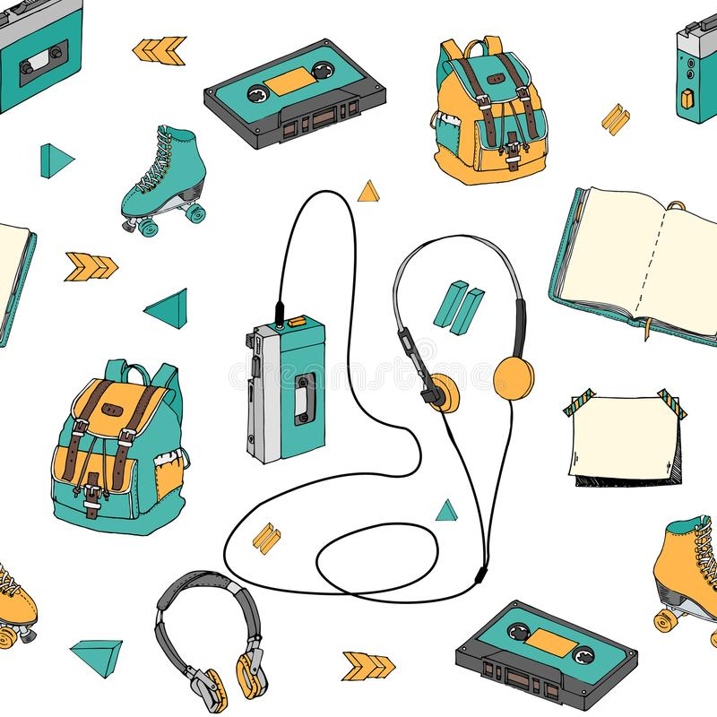 Hand drawn doodle seamless pattern with teen elements . Retro audio player, cassette, headphones, roller skates, backpack in carto. On style. Design for print vector illustration
