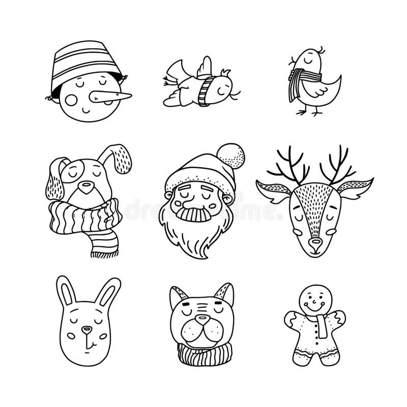 Hand drawn, doodle set of Christmas characters royalty free illustration
