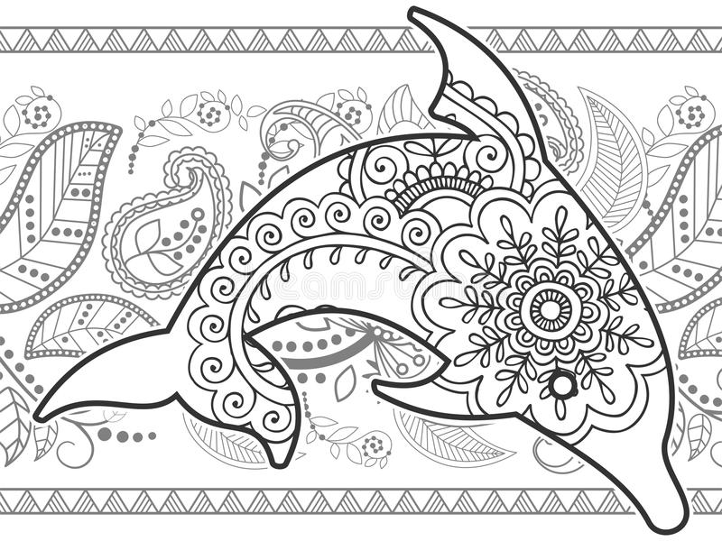 black and white dolphin hand drawn doodle royalty free stock photo