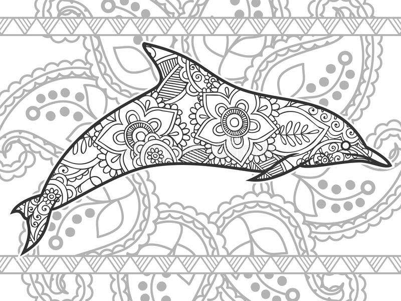 download hand drawn dolphin doodle animal paisley adult stress release coloring page zentangle stock illustration - Coloring Page Zentangle