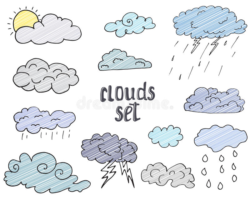 Hand drawn Doodle set of different Clouds, sketch Collection vector illustration on white vector illustration