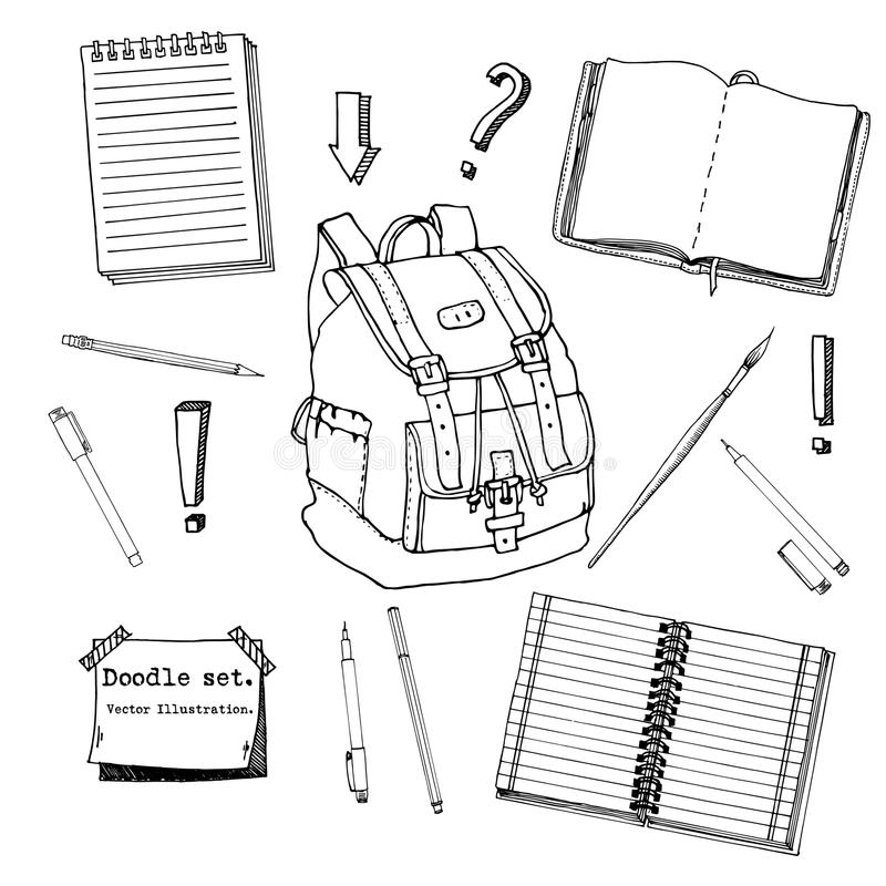 Hand drawn doodle set of school teen elements. Back to school. Writing supplies,copybook, notebook, sticky notes, backpack in cart. Oon style. stationary. Design stock illustration