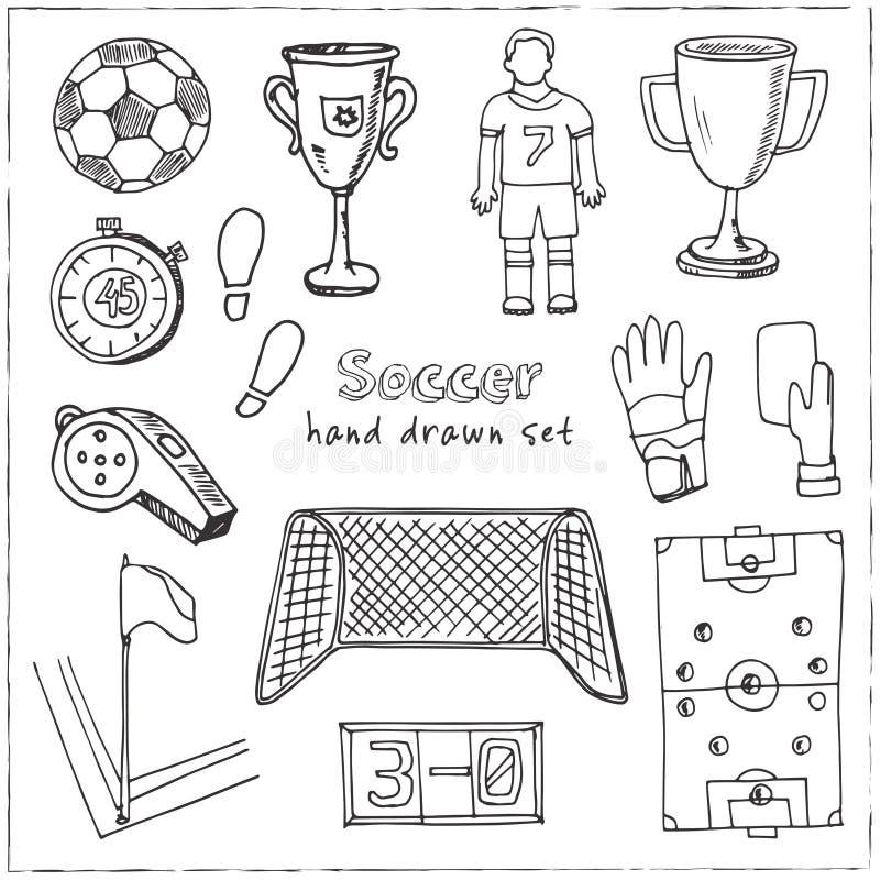 Hand drawn doodle soccer set. vector illustration