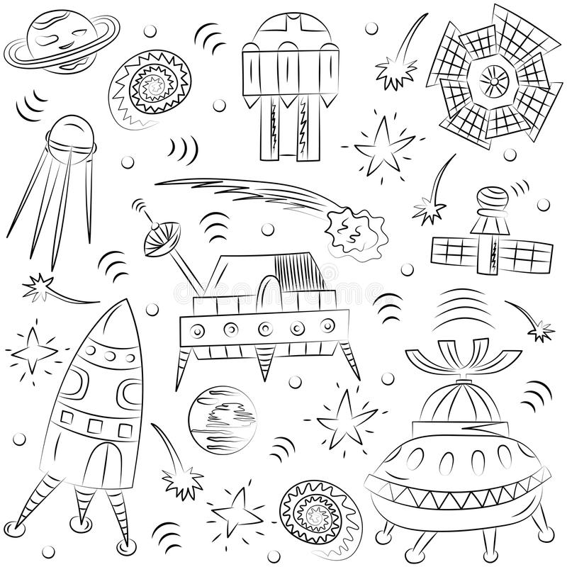 Hand Drawn Doodle Spaceships, Rockets, Falling Stars, Planets and Comets . Sketch Style. vector illustration