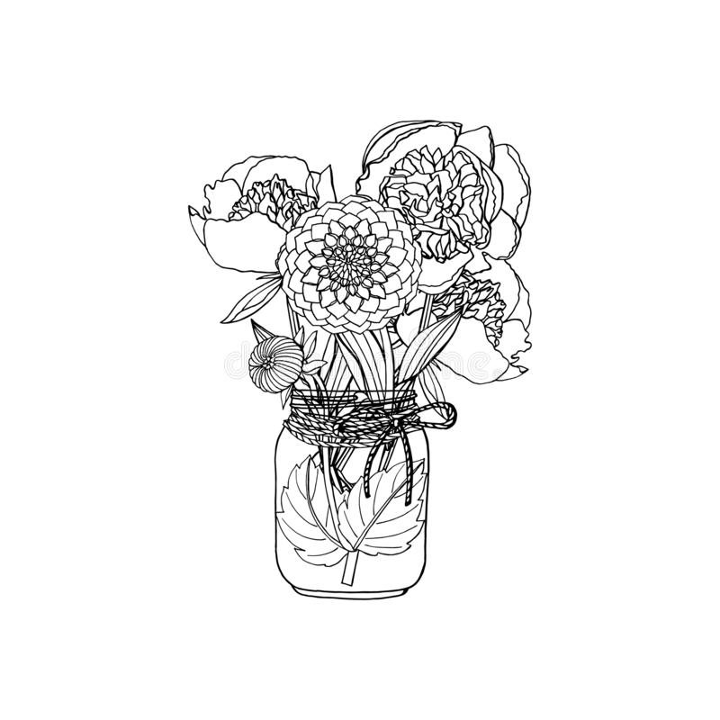 Hand drawn doodle style bouquet of different flowers, peony, dahlia royalty free illustration