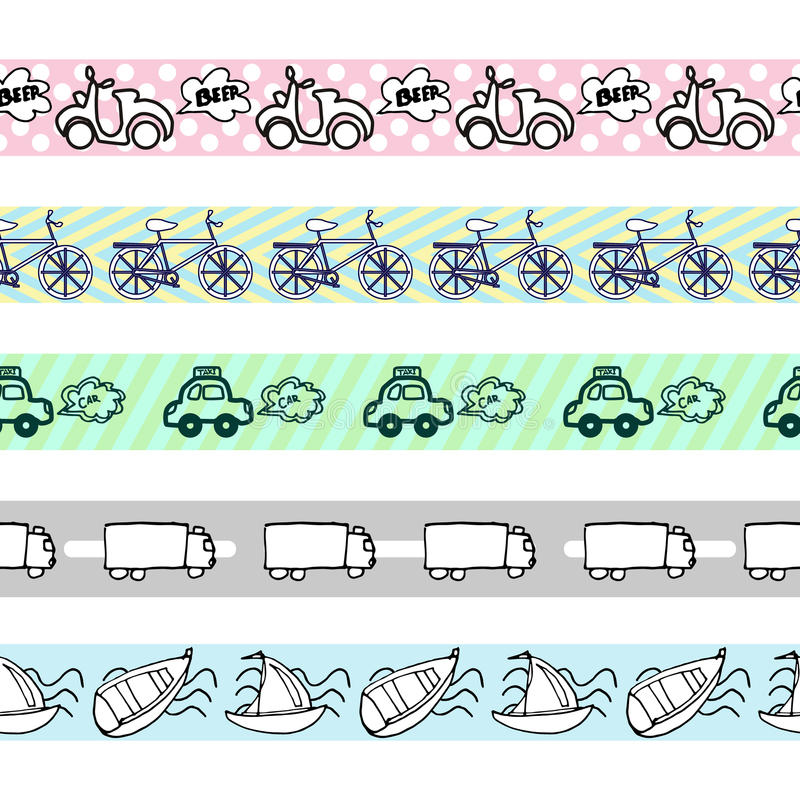 Hand-drawn doodle-style cars seamless pattern royalty free illustration