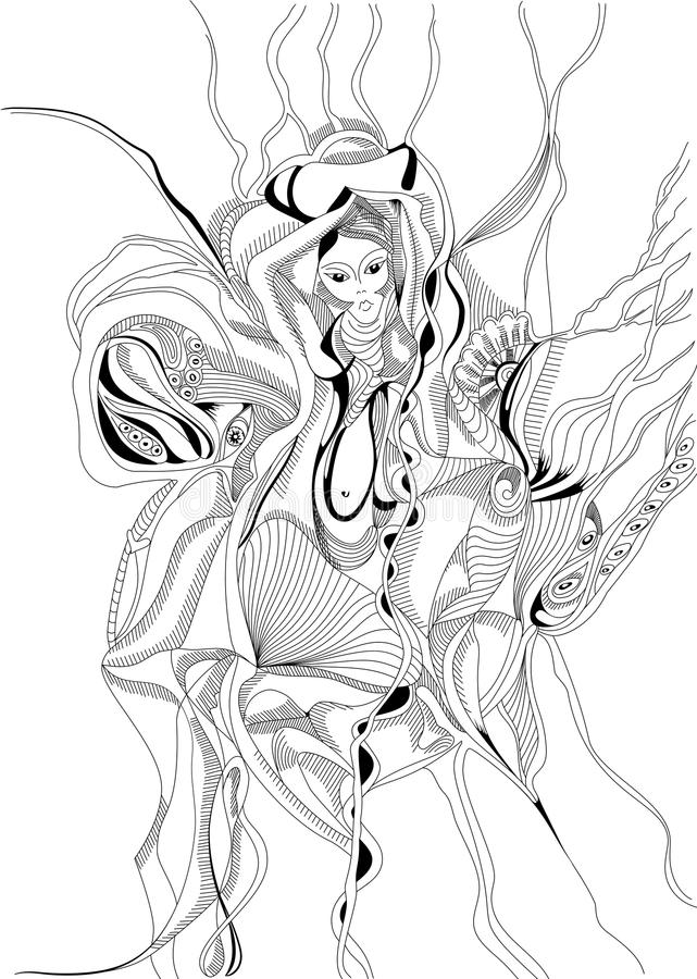 Hand drawn and doodle style girl dancing belly dance. stock illustration