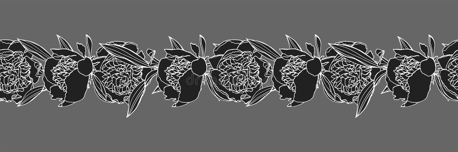 Hand drawn doodle style peony flower wreath and seamless brush vector illustration