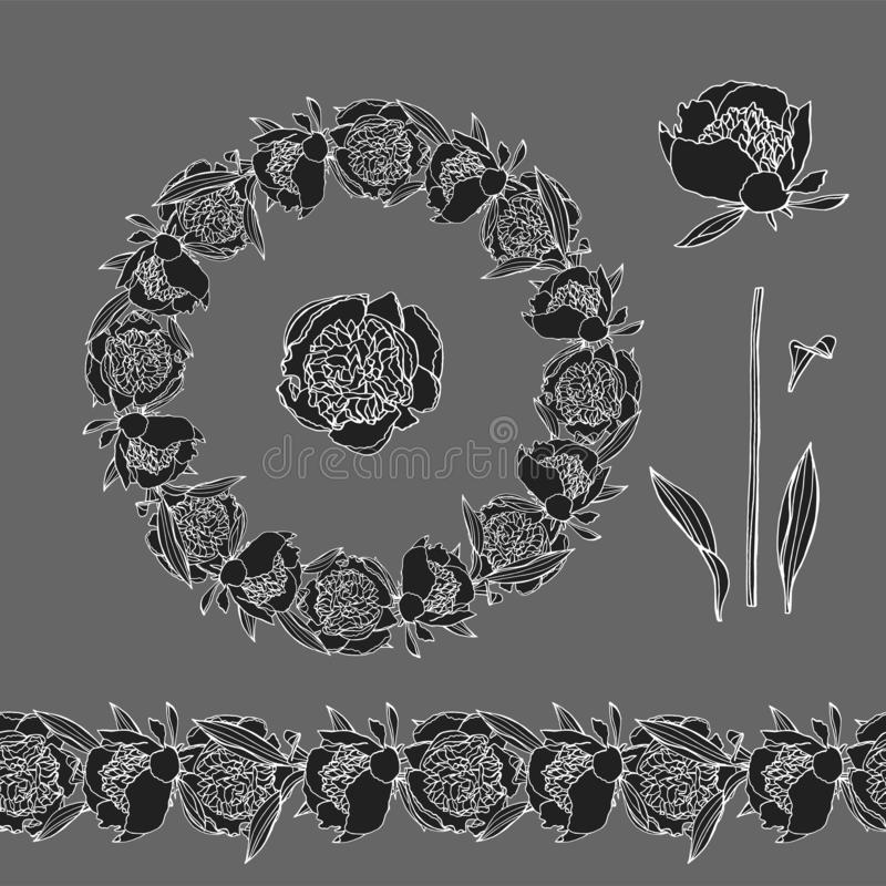 Hand drawn doodle style peony flower wreath and seamless brush stock illustration