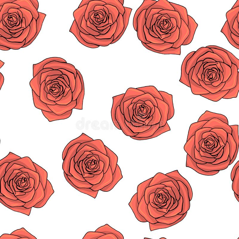 Hand drawn doodle style rose flowers seamless pattern stock illustration