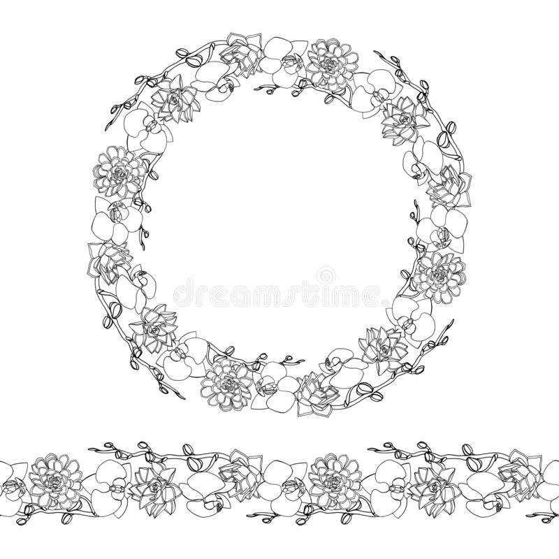 Hand drawn doodle style succulent and orchid flowers .wreath and seamless brush vector illustration