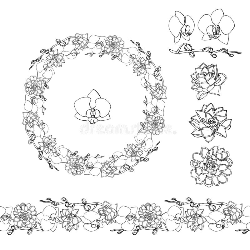 Hand drawn doodle style succulent and orchid flowers .wreath and seamless brush stock illustration