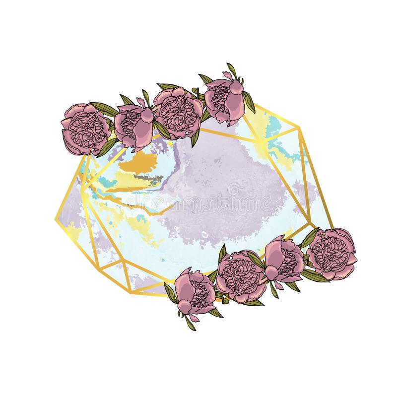 Hand drawn doodle style violet peony flower wreath with polygonal garland, vintage geometric frame, floral design element royalty free illustration