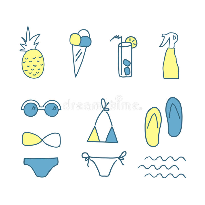 Hand drawn doodle summer icons. Line color set of elements. Vector illustration. , on white background royalty free illustration