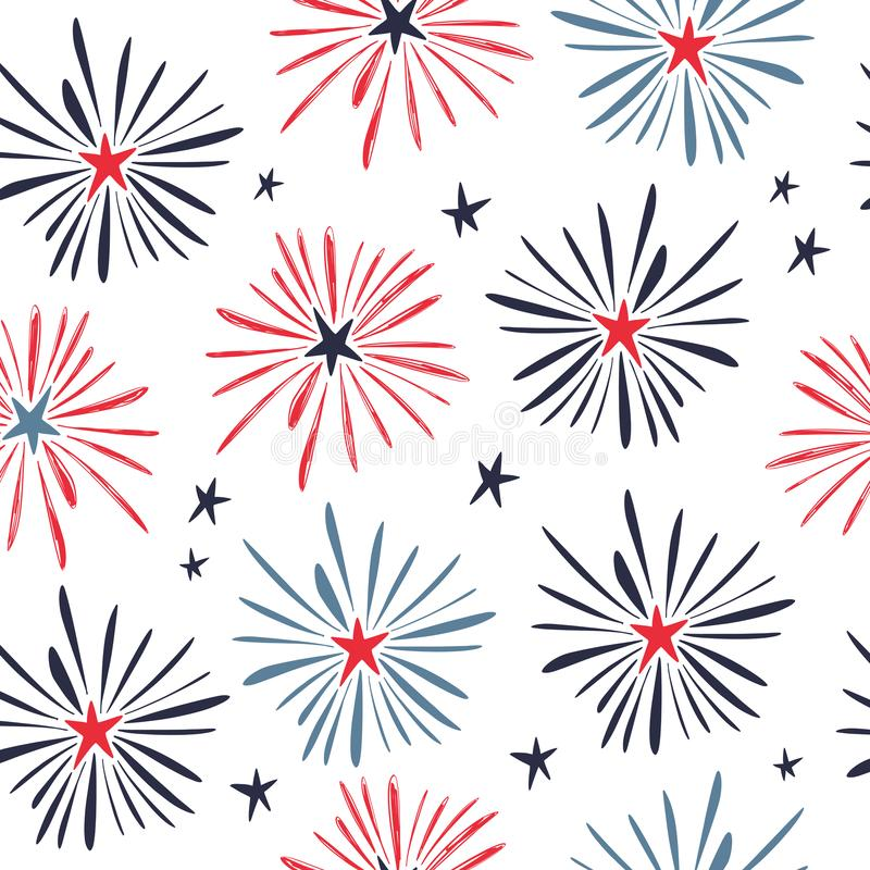 Hand drawn doodle 4th of July seamless pattern with fireworks. Vector illustration stock illustration