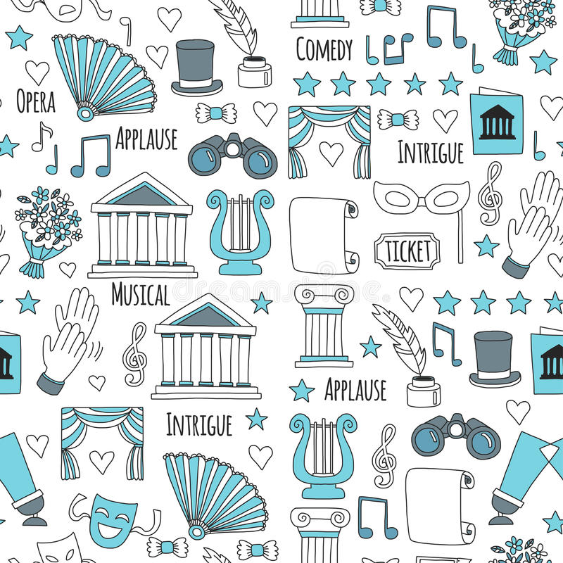 Hand drawn doodle Theatre set Vector illustration Sketchy theater icons Theatre acting performance elements Ticket Masks. Lyra Flowers Curtain vector illustration
