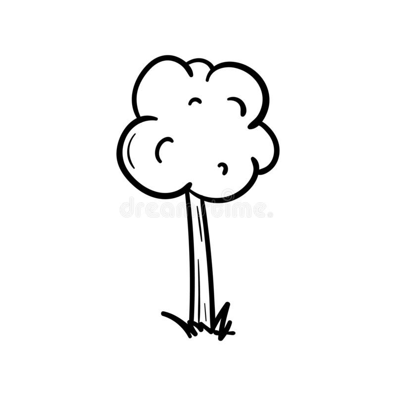 Hand drawn doodle tree icon. Black sketch. Sign symbol. Decoration element. Isolated on white background. Flat design. Vector ill royalty free illustration