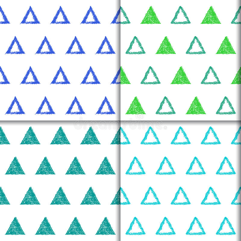 Hand drawn doodle triangle seamless patterns set. stock illustration