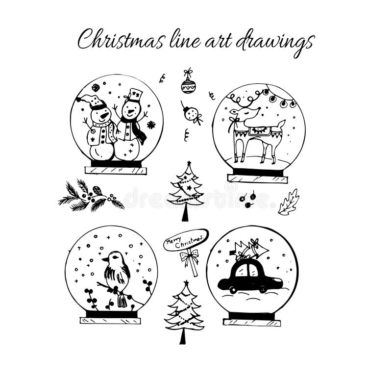 Hand drawn doodle vector. Christmas line art drawings in black. Christmas tree, lettering, fir branches, ornaments,snow. Doll, snowball,present boxes for gift royalty free illustration