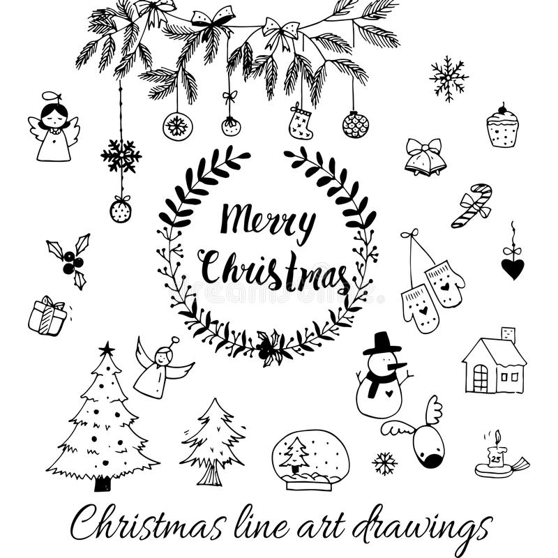 Hand drawn doodle vector. Christmas line art drawings in black. tree, santa and lettering, fir branches, ornaments. Candy, present boxes for gift tags, labels vector illustration