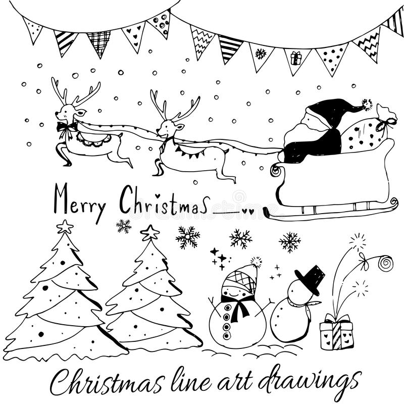 Hand drawn doodle vector. Christmas line art drawings in black. tree, santa and lettering, fir branches, ornaments. Candy, present boxes for gift tags, labels royalty free illustration
