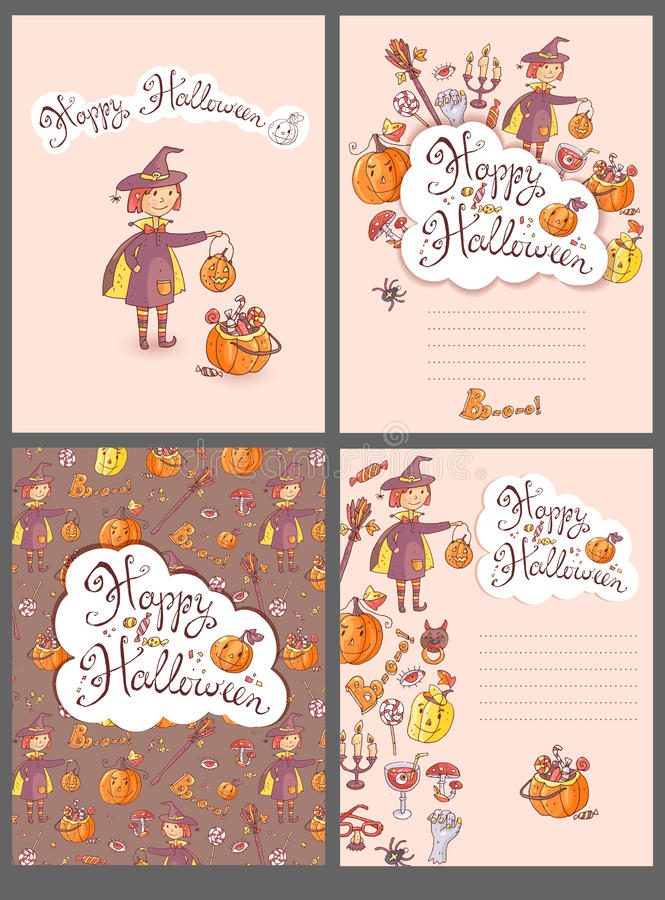 Free Hand Drawn Doodle Vector Halloween Greeting Cards With The Witch Royalty Free Stock Photography - 78057747