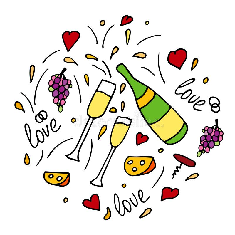 Hand drawn doodle vector pattern with cheese, wine glasses, bottles of sparkling wine, champagne, grapes and hearts. Wedding or royalty free illustration