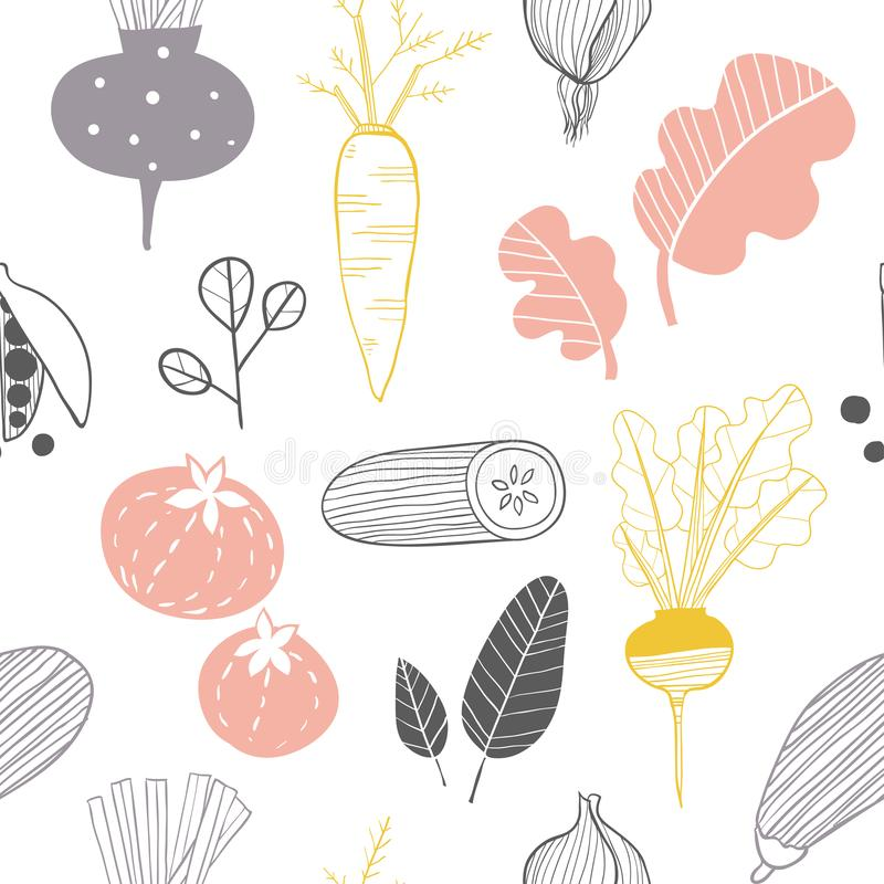 Hand drawn doodle vegetables. Sketch style vector seamless pattern stock illustration