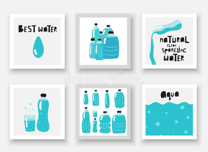 Hand drawn doodle water bottles set. Cards, posters, flyers, pages, covers with water drop vector illustration