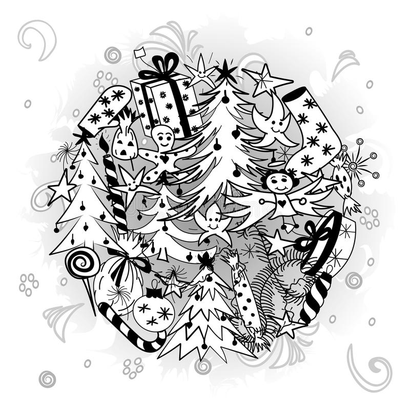 Hand Drawn Doodle Winter Holiday Symbols. Children Drawings of Fir Trees, Gifts, Candle, Sweets, Angel and Snowflake. Arranged in a Circle. Vector illustration stock illustration