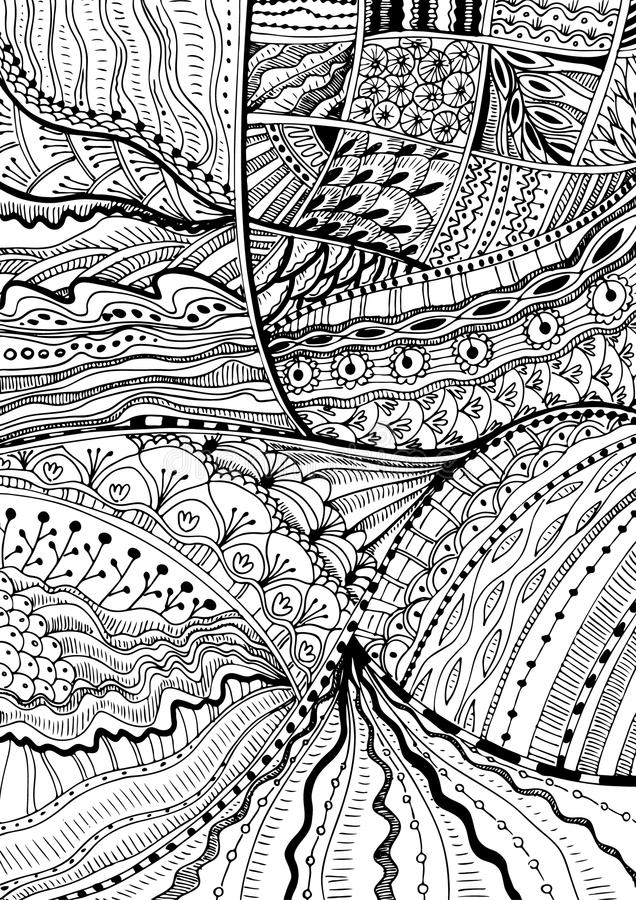 Hand drawn doodle zentangle background. Black and white vector antistress coloring page. Meditation sketch stock illustration