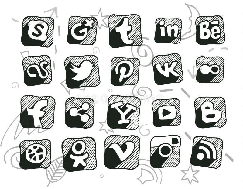 Hand drawn doodled social media icons. (Ai10 vector illustration