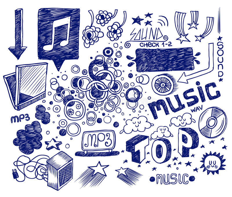 Hand drawn doodles royalty free illustration