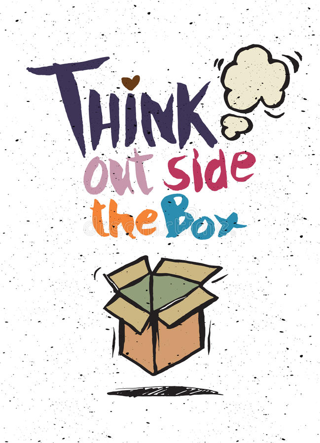 Hand drawn doodles,think out side the box concept vector illustration