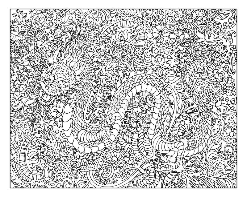 Hand drawn dragon against floral pattern background stock illustration