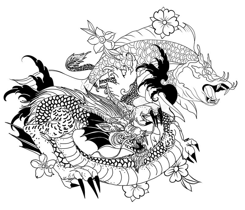 Hand drawn Dragon and koi fish with flower tattoo for Arm, Japanese carp line drawing coloring book vector image.Dragon and koi fi. Sh fighting and water splash vector illustration