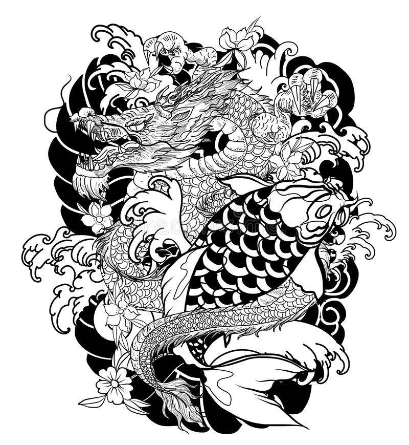 Hand drawn Dragon and koi fish with flower tattoo for Arm, Japanese carp line drawing coloring book vector image. Dragon and koi fish fighting and water splash royalty free illustration