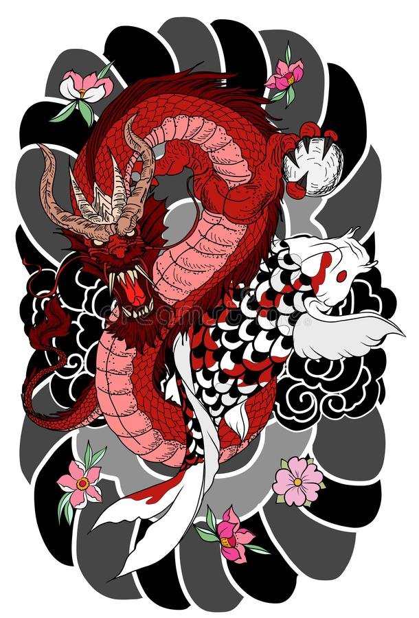 Hand drawn Dragon and koi fish with flower tattoo for Arm, Japanese carp line drawing coloring book vector image. Dragon and koi fish fighting and water splash stock illustration