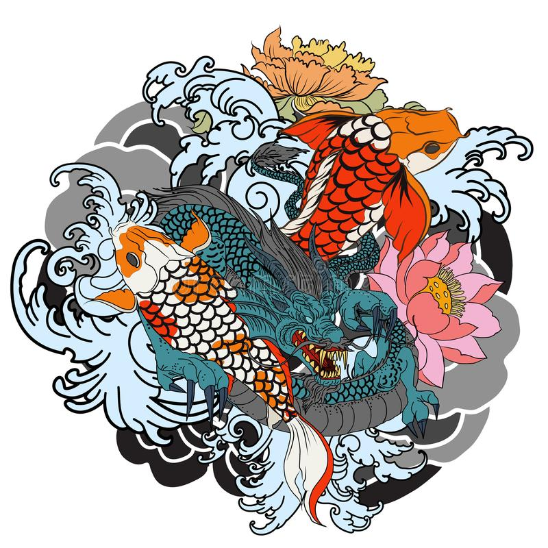 Hand drawn Dragon and koi fish with flower tattoo for Arm, Japanese carp line drawing coloring book vector image. Dragon and koi fish fighting and water splash vector illustration