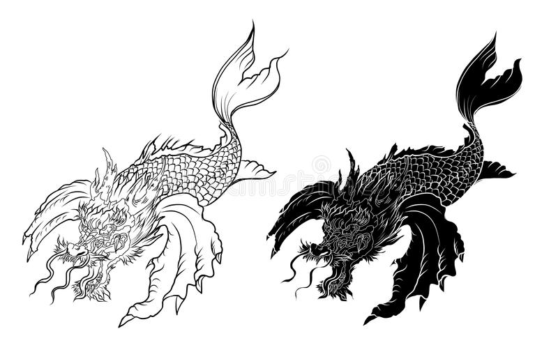 Line Art Of Fish : Dragon koi fish japanese carp line drawing coloring book vector