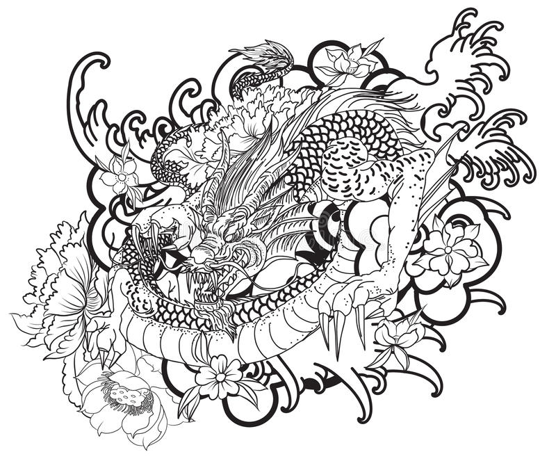 download hand drawn dragon tattoo coloring book japanese style stock vector image 95064799 - Tattoo Coloring Book